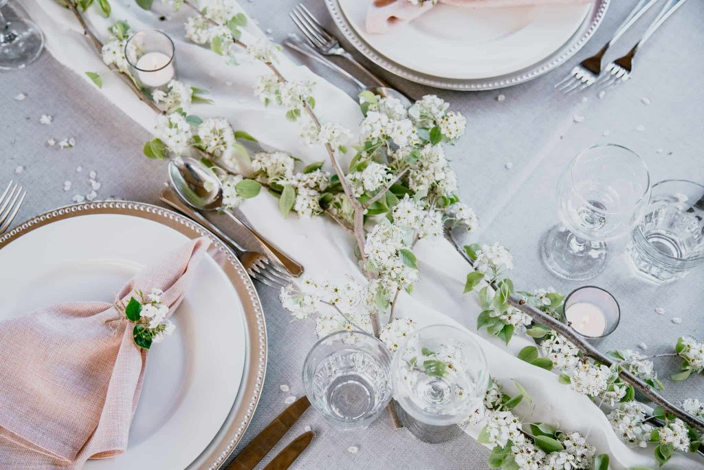 Tailrace Centre Spring Blossoms Wedding Styling
